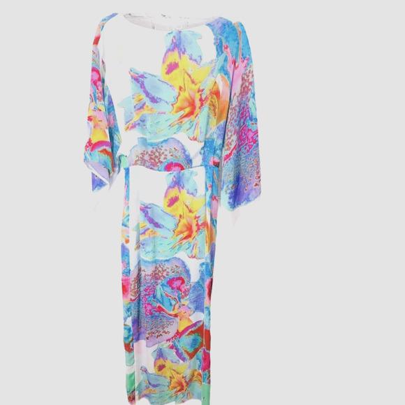 ASOS Watercolor Open Back Maxi Dress